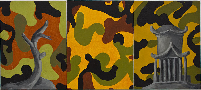 Tony Clark Chinoiserie Landscape, 1987; oil on canvas board; 30.5 x 22.8cm (each panel), 30.5 x 68.4cm (overall); enquire