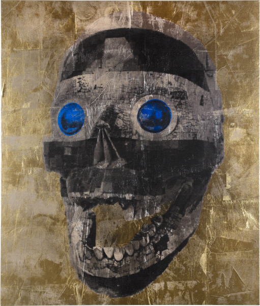 Brook Andrew Robot II, 2018; ink, acrylic paint, linen; 200 x 170 x 5 cm; enquire