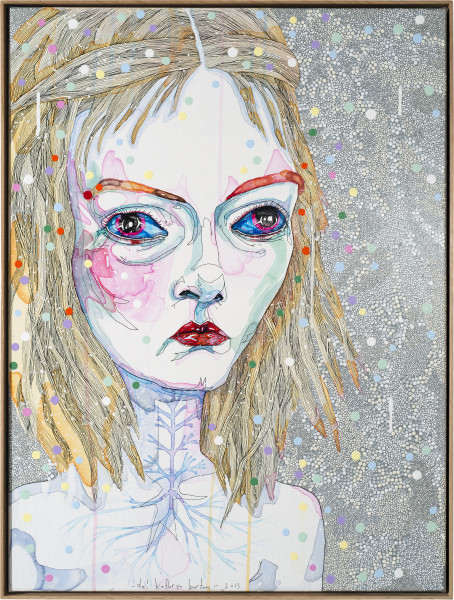Del Kathryn Barton to hold 2, 2013; synthetic polymer paint and gouache on polyester canvas; 82 x 62 cm; enquire