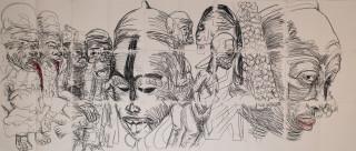 Pierre Mukeba Lust (Sex) (P1), 2021; charcoal on archival paper; 126 x 296 cm; enquire