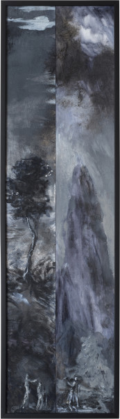 Tony Clark Two Fragmentary Sections from Clark's Myriorama with the Baptism of Jesus, 2014; oil on canvas; 99 x 28 cm; (framed); enquire