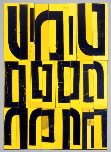 Rosalie Gascoigne Cumquats, 1999; retro reflective roadsign on wood; 68 x 51 cm; enquire