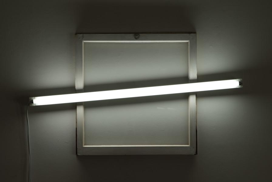 Bill Culbert Square window, 2009; glass, fluorescent lights, wood, house paint; 70 x 120 x 10 cm; enquire