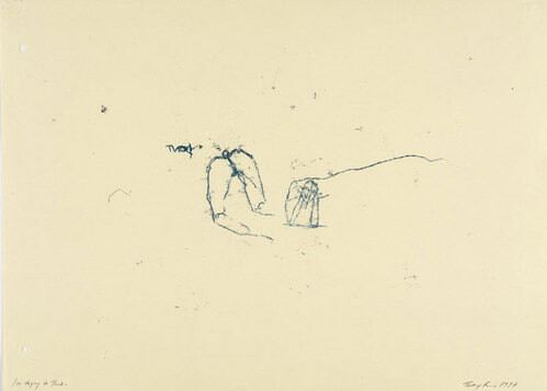 Tracey Emin I am trying to think, 1997; black ink on paper; 58 x 81 cm (paper); 67 x 90.5 cm (frame); enquire