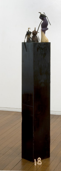 Mikala Dwyer 18, 2009; wood, enamel paint, horn, leather, beads; 155 x 18 x 24 cm; enquire