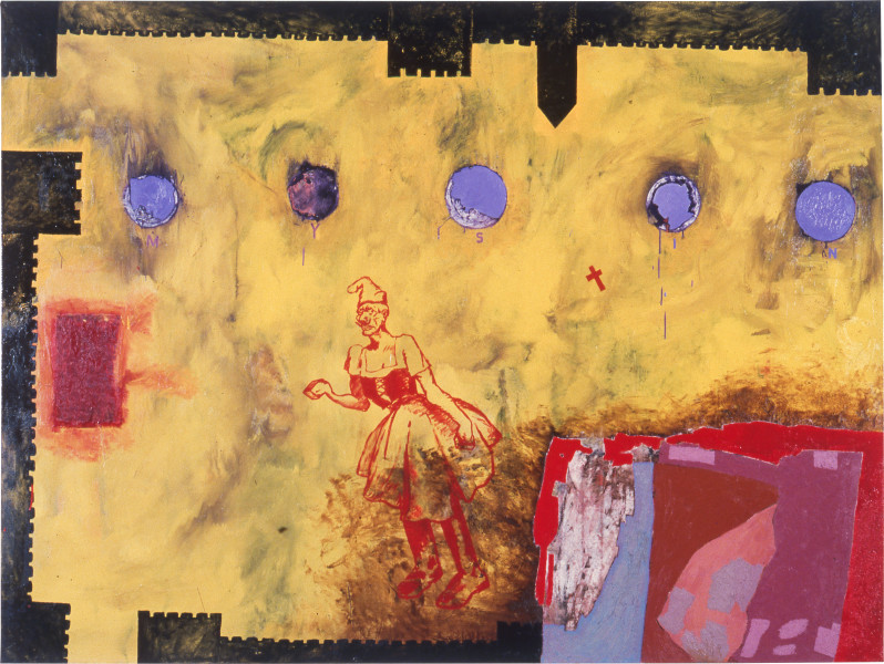 Gareth Sansom My Sin for Norman, 1985; oil and enamel on linen; 182.8 x 243.8 cm; enquire