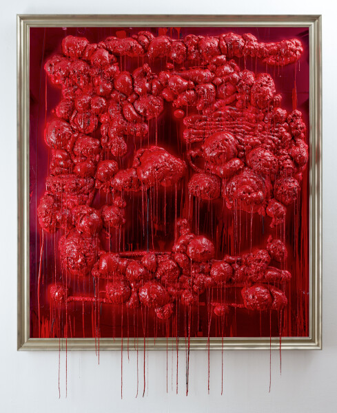 Dale Frank :-##, 2015; ( :-## ); pressurised construction foam and varnish on perspex; 214 x 194 x 21 cm; enquire