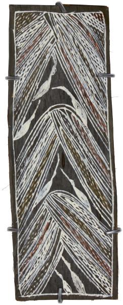 Mulkun Wirrpanda Galayarr Birrkpirrk, 2015; 4524H; Bark painting; 41 x 15 cm; Enquire