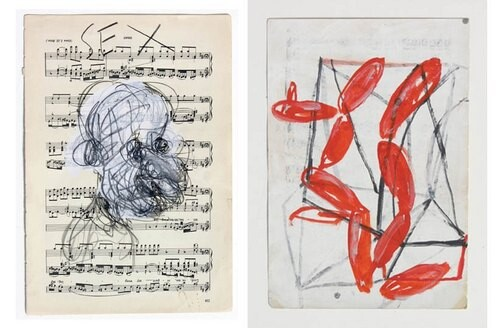 Newell Harry Untitled, 2006; gesso and oil stick on music sheet paper; 27.5 x 38 cm; enquire