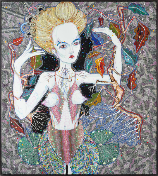 Del Kathryn Barton goes the road, 2013; synthetic polymer paint and gouache on polyester canvas; 203 x 183 cm; enquire