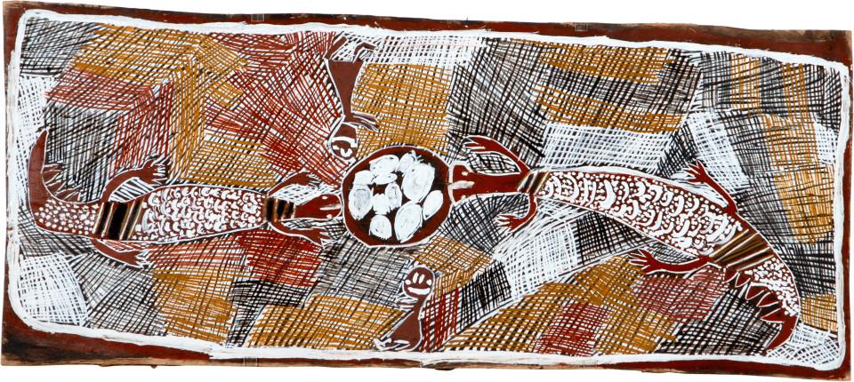 Nyapanyapa Yunupingu Collecting Eggs, 2008; natural earth pigments on bark; 51 x 118 cm; enquire