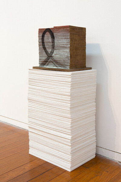 Imants Tillers Repeatable Form (1), 2015; 169 blank canvas boards and painted bronze object, nos. 95587-95756; 86.5 x 37 x 25.5 cm; enquire