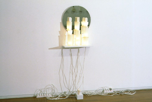 Fiona Hall The Three Sisters, 1995; tupperware, soap, mirrors, mixed media; 178 x 56 x 23 cm; (approximate); enquire