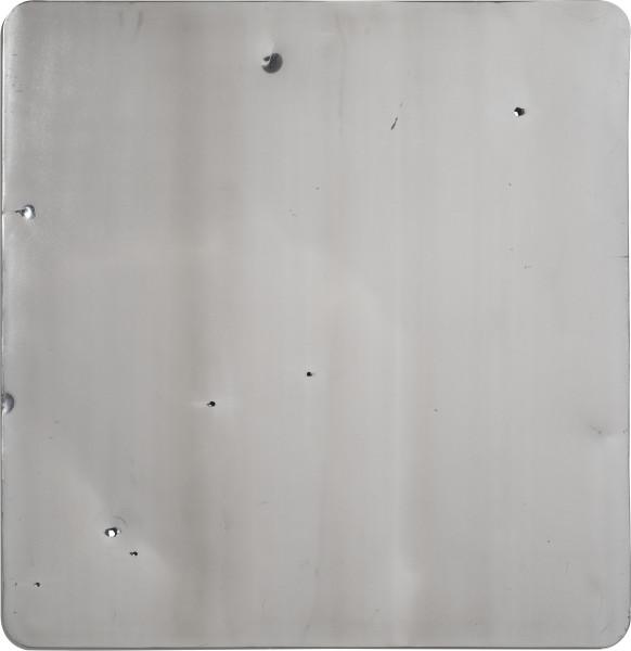 Marley Dawson Sign (Landscape/Constellation) #4, 2013; decommissioned 5052 Aluminium road sign; 76 x 76 cm; enquire