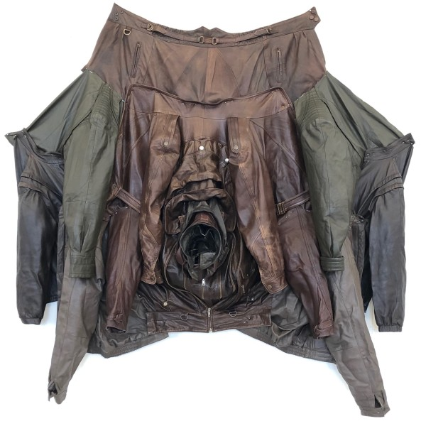 Sarah  Contos Voltron III (Brown), 2019; repurposed leather jackets, hardware, thread; 165 x 155 x 30 cm; enquire