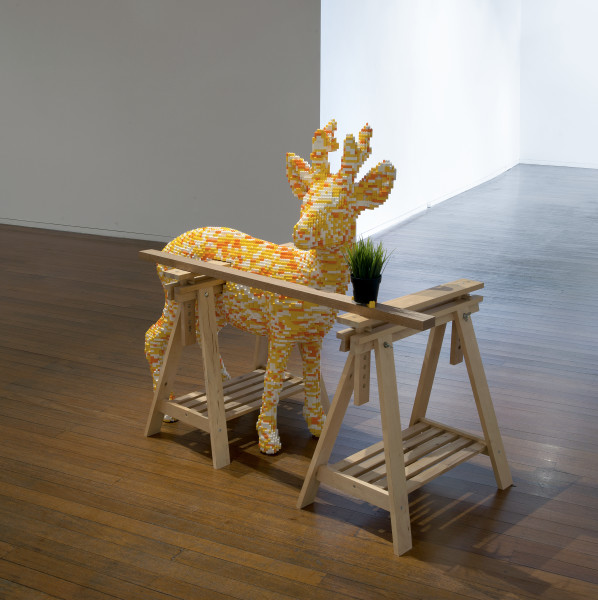 Claire Healy and Sean Cordeiro Garage / Tool Shed - Doe, 2014; Lego, Ikea trestle with shelf and plant; 130 x 150 x 70 cm; enquire