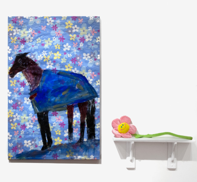 Jenny Watson Horse with Rug, 2010; Part 1: acrylic on rabbit skin glue primed Hong Kong cotton, 105 x 68 cm Part 2: velvet daisy on shelf, 60 x 70 x 12 cm ; enquire