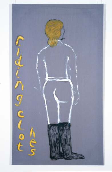 Jenny Watson Riding Clothes, 1989-90; oil on Rabbit skin Glue primed liberty cotton; 243.5 x 182.5 cm; enquire