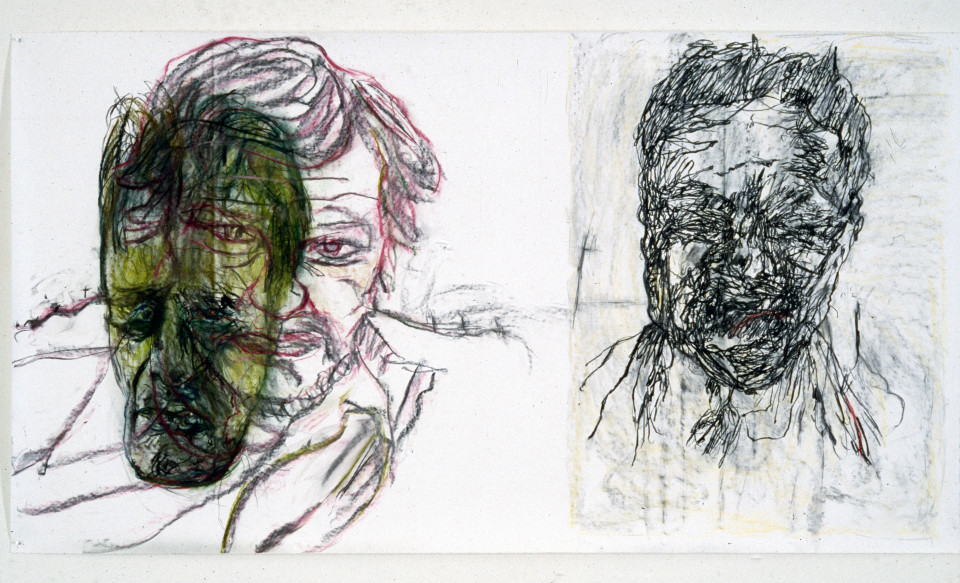 Mike Parr Fringe Dwellers, 1987; Girault pastel & charcoal on Stonehenge paper; 127.5 x 242 cm; enquire