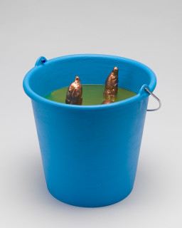 A Constructed World Joyous piss and shit, 2020; Synthetic modelling clay, copper paint, silicone and plastic; 26 x 29 x 29 cm; enquire