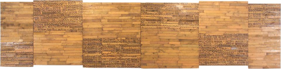 Rosalie Gascoigne All Summer Long, 1998; sawn wood on wood; 122 x 516 cm; enquire