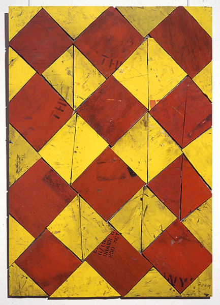 Rosalie Gascoigne Carnival, 1998; sawn wood on wood; 84 x 77 cm; enquire