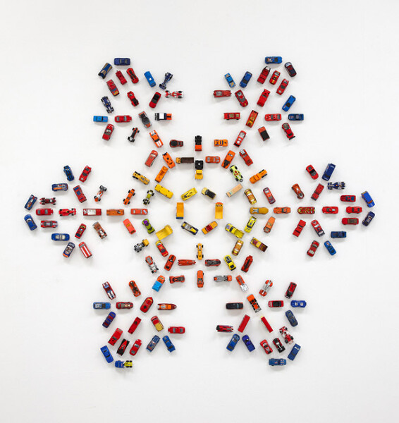 Claire Healy and Sean Cordeiro Autoflake ROYB156, 2012; toy cars, magnets; 137 x 156 x 4 cm; enquire