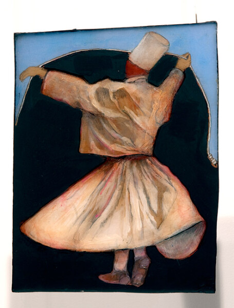 Hossein Ghaemi Quazvin impending, 2009; liquid glass, paper, boxboard, gouache, pencil, chalkboard paint; 28 x 21 cm; enquire