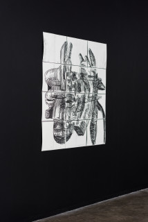 installation view; Pierre Mukeba Silent Was The Dog, 2021; charcoal on archival paper; 120 x 126 cm; enquire
