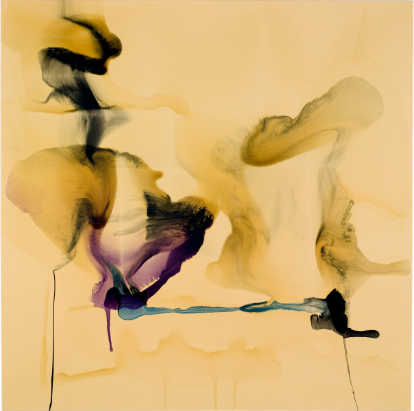 Dale Frank The wedding tackle in a winning scrum a punch drunk pounding lying on the pavement preferring lilac illuminations ignoring the screams to get up, get up, 2008; varnish on canvas; 200 x 200 cm; enquire