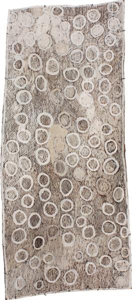 Nyapanyapa Yunupingu Circles, 2011; 4039M; natural earth pigments on bark; 180 x 80 cm; enquire