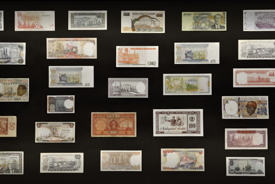 Fiona Hall Spill (detail), 2014-15; collection of banknotes; dimensions variable; enquire
