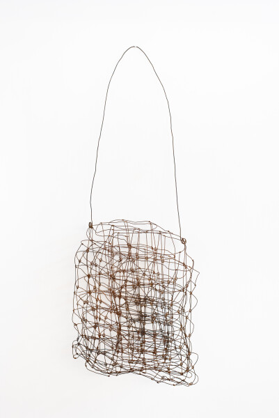 Lorraine Connelly-Northey Narrbong, 2019; CONNL - 0016; burnt ringlock fencing wire; 195 x 68 x 20 cm; Enquire