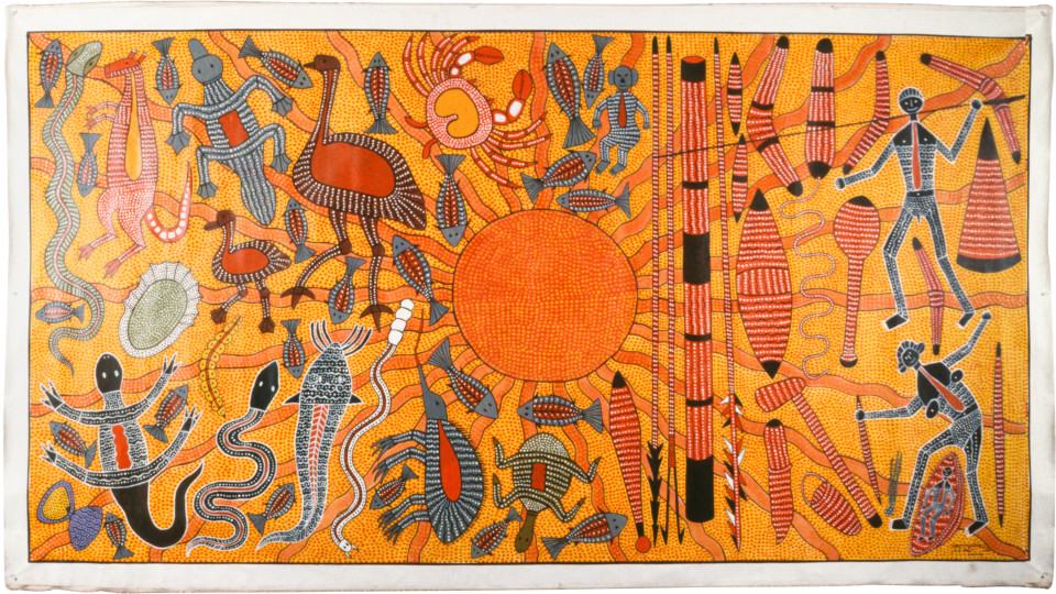 Robert Campbell Jnr Abo, Lifestyle of Hunter & Tucker, 1987; acrylic on canvas; 152.5 x 286 cm; enquire