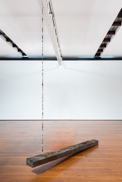 Jim Lambie Sleeper (Wild Is The Wind), 2019; hardwood railway sleeper, vintage beads, metal cable; 350 x 25 x 250 cm; enquire
