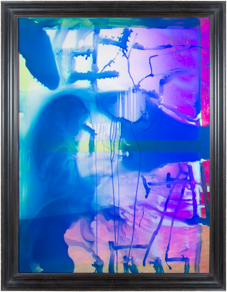 Dale Frank History For Lease 1, 2014; varnish, oil, lighter fluid on iridescent plexiglass  ; 180 x 140 cm; 160 × 120cm (unframed); enquire