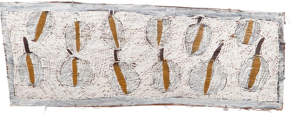 Nyapanyapa Yunupingu 11. Fallen Leaves #1, 2009; 3575V; Natural earth pigments on bark; 36 x 95 cm; enquire