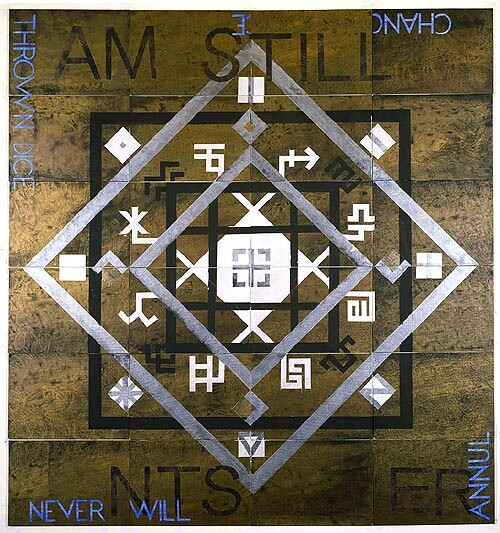 Imants Tillers Latvian Mandala, 2002; synthetic polymer paint, gouache on 24 canvasboards, nos. 72496 - 72519; 152 x 142 cm; enquire