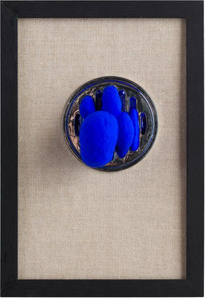 Caroline Rothwell Ooze, 2019; Stainless steel, hydrostone, paint, epoxy glass, canvas, frame; 33 x 25 cm; enquire