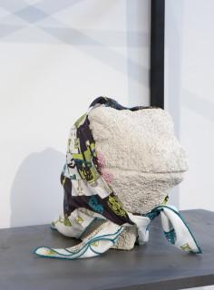 Hany Armanious Comfort and contempt detail, 2011; pigment polyurethane resin, porcelain, Hermes scarf; 178 x 88 x 65 cm; enquire
