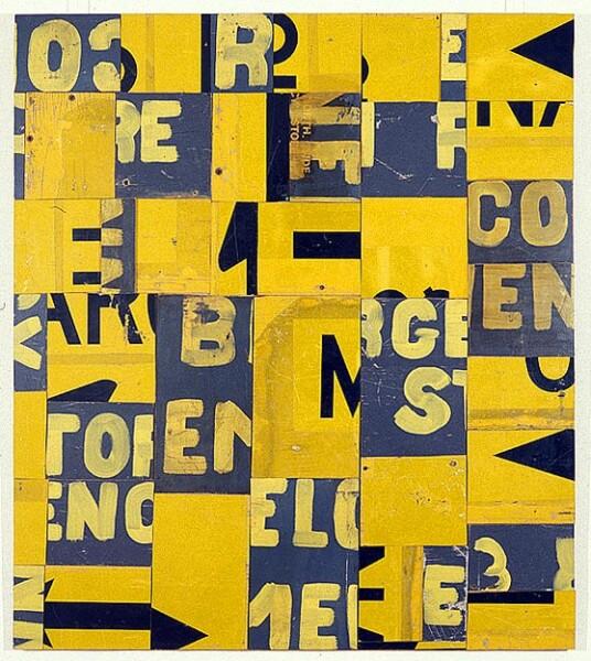 Rosalie Gascoigne Ensign, 1995; retro-reflective roadsign on craftboard; 136 x 120 cm; enquire