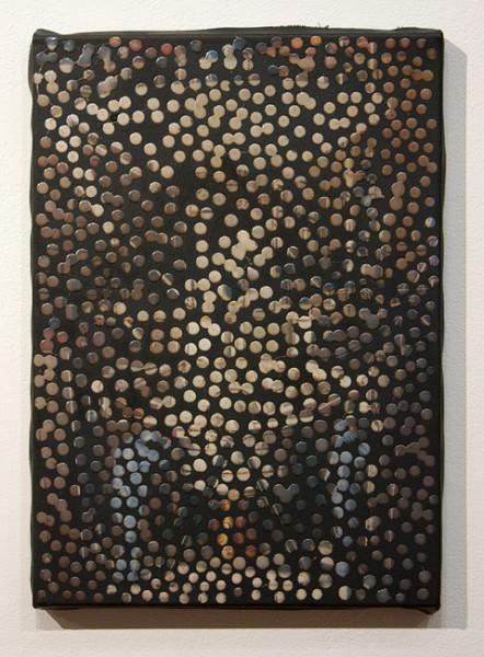 Daniel Boyd Untitled (MAS), 2012; oil, digital print and archival glue on canvas; 35.5 x 25 cm; enquire