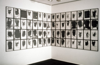 Mike Parr The Self Portait Machine (Location X), 1989; 90 framed A3 size Canon Laser Prints; dimensions variable; enquire