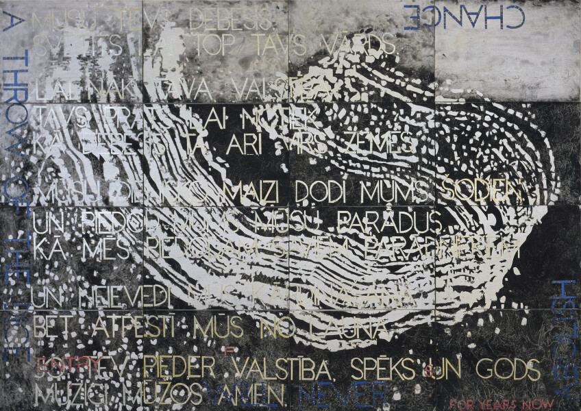 Imants Tillers Nature Speaks: FS, 2017; from the series Sung into Being; acrylic, gouache on 16 canvas boards, no. 99594 - 99609; 100 x 141 cm; Enquire
