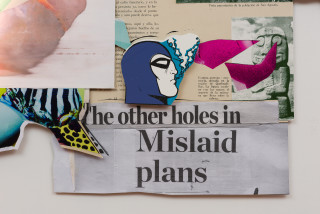 Brook Andrew This year, mislaid plans... (detail), 2020; screen print, photoprint, digital print, textile, paper and neon; 287.5 x 297 x 10 cm; enquire