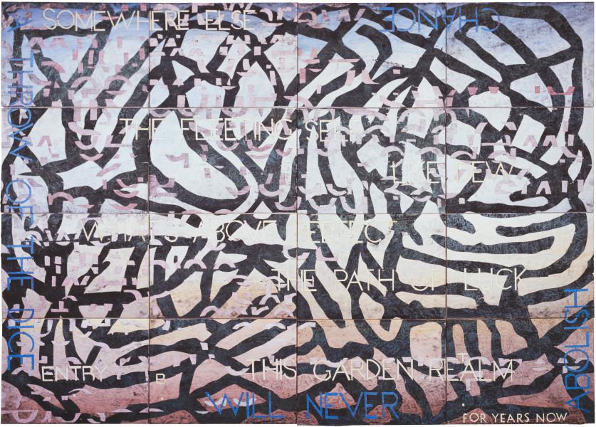 Imants Tillers Nature Speaks: BT, 2009; acrylic, gouache on 16 canvasboards, no. 85097 - 85112; 102 x 143 cm; enquire