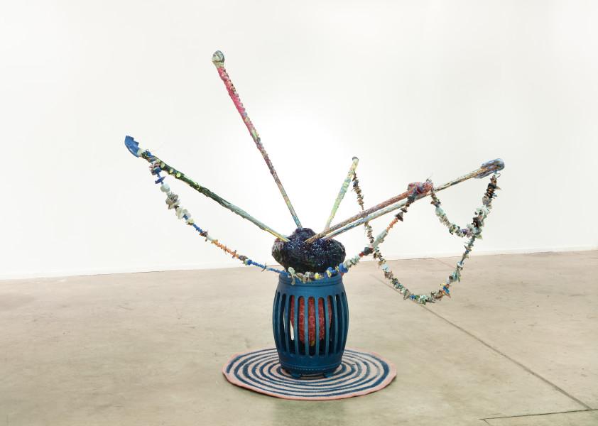 Rohan Wealleans Scare Transfer, Storage Unit 3000, 2010; house paint, wood, ceramic, rug, vampire teeth, polystyrene, string; 172 x 200 x 180 cm; enquire