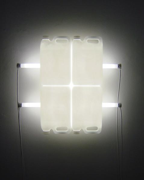 Bill Culbert White Reflection, 2004; fluorescent lights, electrical cords, plastic bottles; enquire
