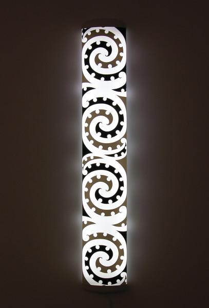 Michael Parekowhai The Bosom of Abraham, #1, 2004; fluorescent bulb + Italian light fitting + screen printed vinyl; 130 x 22 x 8 cm; Edition of 7; enquire