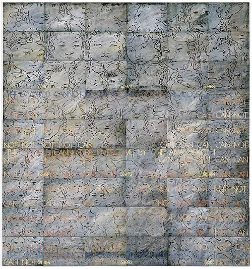 Imants Tillers The Enigma of Arrival III, 1997; synthetic polymer paint, gouache and oilstick  on 54 canvasboards; 228.6 x 213.4 cm; enquire